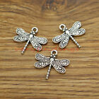 20 Butterfly Charms Fly Flying Moth Insect Charms Antique Silver Tone 21x19 341