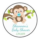 30 Boy Baby Monkey Birthday Party Stickers Favors Labels round 15 Shower Cute