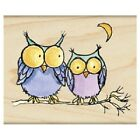 PENNY BLACK RUBBER STAMPS MOONLIGHT OWLS NEW wood STAMP