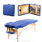 Refurbished Blue Portable Massage Table W Free Carry Case Chair Bed Spa Facial