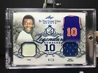 PELE WALT FRAZIER 2019 Leaf In The Game Used Legendary Numbers Dual Relic 4 15