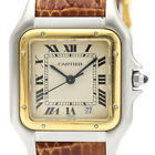 Polished CARTIER Panthere 18K Gold Steel Leather Quartz Mid Size Watch BF502893