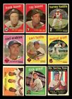 LOT OF 227 DIFFERENT 1959 TOPPS BASEBALL CARDS PARTIAL SET GOOD VG GMCARDS