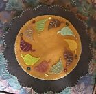 Fall Harvest Primitive Penny Rug Candle Mat Leaves