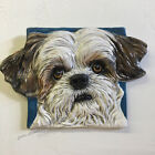 Shih Tzu Ceramic dog tile wall hang handmade sculpture by Sondra Alexander Art