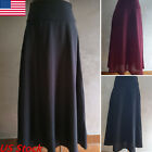 Women Trendy High Waist Flared Pleated Long Dress Maxi Strappy Skirts Pockets US