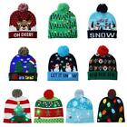 Christmas LED Light Knitted Hat Beanie Cap Lovely Colours Xmas Gift Adults Kids
