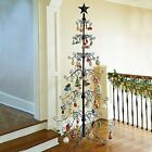 36  84 Metal Scroll Christmas Ornament Display Trees in Black  Gold Colors