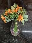 Nearly Natural Orange Silk Flower Arrangement With Flowers In the Clear Water