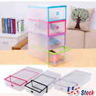 1 20pcs Plastic Clear Shoe Storage Boot Sneaker Box Stackable Case Organizer US