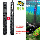 2x 100W Aquarium Heater Anti Explosion Submersible Adjustable Heater Fish Tank