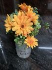 Nearly Natural Orange Silk Flower Arrangement In an Inspirational Mason Jar