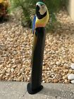 32 STANDING PARROT STATUE PAINTED CARVED WOOD TROPICAL SCULPTURE BIRD DECOR