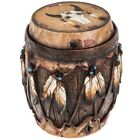 Native American Brown Round Box Feather Can Store Items Home Decor 6 D 7 H