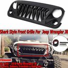 For 2007 18 Jeep Wrangler JK JKU Gird Grill Front Shark Grille Matte Black ABS