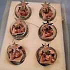 Vintage clear glass look Nativity 6 piece ornaments made in Germany