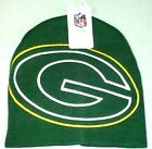 GREEN BAY PACKERS KNIT BEANIE HAT SKI CAP NFL CUFFLESS LARGER LOGO TOQUE NWT