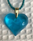Lalique Blue Teal Color Glass Heart Pendant Necklace