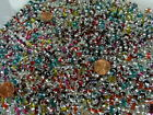 Two Pounds Chinese Spray Painted Oval Glass Beads Wholesale Bulk Lot NVF 47