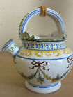 Fantastic Antique Cantagalli Italy painted handled pitcher Ribbons