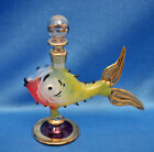 Unique vintage Hand Blown ART GLASS Figural Fish PERFUME BOTTLE + STOPPER Dauber