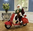 Life Size Christmas Outdoor Santa Claus Riding Moped Scooter Christmas Decor