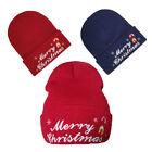 Merry Christmas Embroidery Knitted Winter Hat Cotton unisex Warm Beanies cap