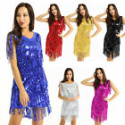 Women's Sequins Fringe Flapper Dress Latin Ballroom Performance Dance Dresses