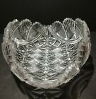 Hand Cut Lead Crystal Bowl Boat Dish Vintage 1950s Beautiful Christmas Gift