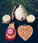 Native American Hand Made Wooden leather Christmas Ornaments
