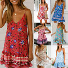 Women Holiday Loose Floral Boho Sundress Ladies Beach Mini Swing Sun Dress Tops