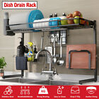 2 Layer Stainless Steel Dish Rack Drying Drainer Over Sink Kitchen Tray Draining