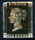 GB QV PENNY BLACK 1840 Plate 9 NK Red MX Re Entry SG 2 Specialised AS56a VFU