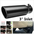 Car 3 Inlet Exhaust Tip 4 Outlet 12 Long Angle Cut Rolled End Tail Pipe Black