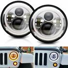 Pair 7LED Headlight Halo DRL Chrome Lamp Angel Eyes For JEEP Wrangler JK TJ YJ