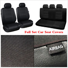 Black PU Leather Car Seat Covers 11Pcs Set Seat Protector Interior Accessories