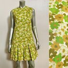 Vintage 1960s Mod Mini Dress Small Scooter Pleated Shift Flower Power MCM Hippie