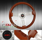 For Nissan 345mm 2 Dish 6 Hole Light Brown Wood Grain Style Steering Wheel+Horn
