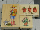 Wood Mounted Rubber Stamps Flowers Garden Plants All Night Media Stampendous