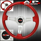 Universal 6 Bolt Hole Red Steering Wheel 1.75 Inch Deep Dish Streak Godsnow