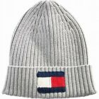 Tommy Hilfiger Men's Hat Gray Ribbed Logo Cuffed One Size Beanie $49 #245