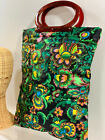 VTG 1960s MOD Flower Power Ladys Pride Carry All Handle Fold Snap Purse Tote Bag