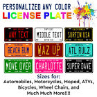 Any State Personalized Any Color License Plate For Auto ATV Bike Bicycle