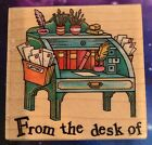 All Night Media FROM THE DESK OF Wood Mount Rubber Stamp 2 1 4x2 1 4 Used