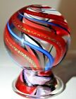 SEESE HOGUE MARBLE w STAND 2 HANDMADE GLASS SIGNED GOLD LUTZ RED BLUE RIBBON