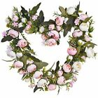 Artificial Rose Flower Wreath Heart Shaped Fake Rose Floral Wreath for Wedding