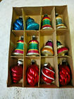 12 VINTAGE MERCURY GLASS BELL  SWIRL SHAPE ORNAMENTS SHINY BRITE MIXED OLD