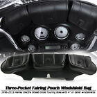 Windshield Bag Tri Pouch 3 Pocket Fit For Harley CVO Ultra Classic Electra Glide
