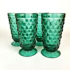 Vtg COLONY GLASS WHITEHALL TEAL FOOTED ICE TEA GOBLETS 6