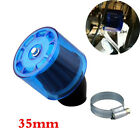 Blue 35mm Bent Angle Air Filter Cleaner For 50 110cc 125cc Pit Quad Dirt Bike
